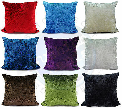 """large plain crush velvet cushions + covers or covers 10 colours 20x20"""" or 17x17"""""""
