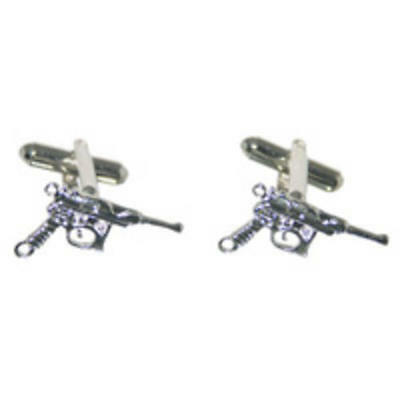 Silver With Black Handle Pistol Cufflinks With Gift Pouch Gun Cowboy Western New