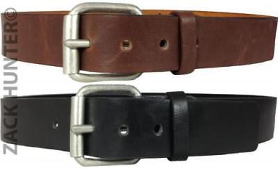 """Mens Real Leather Belts 1.5"""" Belt In Black & Brown Quality Chunky Buckle Mb031"""
