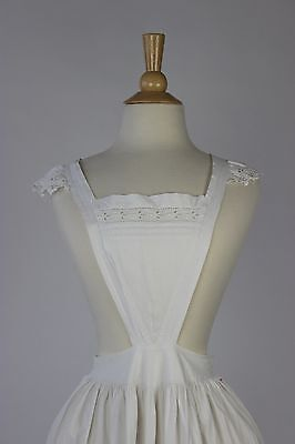 Antique White Cotton Apron with Tucks and Eyelet Monogrammed AM in Red