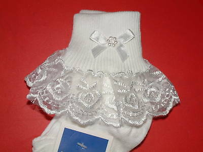 Girls  White Frilly Lace  Socks Size Lots Of Sizes White Bow