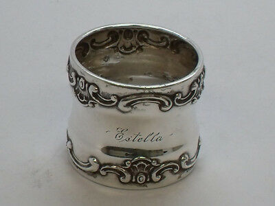 "Sterling Silver Napkin Ring, Mono ""ESTELLA"", Maker Gorham"