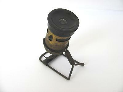 19C. 1850s ANTIQUE MEDICAL SMALL BRONZE MICROSCOPE WITH STAND - RARE