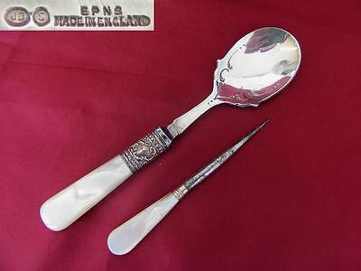 Antique Epns Silver Plated Spoon & Nut Pick With Mother Of Pearl Handles