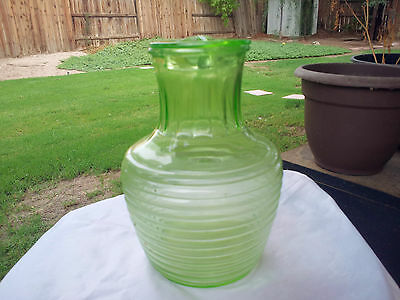 "ANCHOR HOCKING Green Water Bottle - Manhattan Style 8"" Tall"