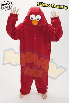 Animal Elmo Sesame Street Onesie Party Cosplay Costume Pajama Kid Family Unisex