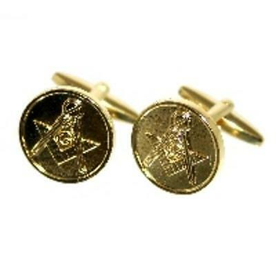 Gold Round Circle Masons Masonic Symbol Cufflinks & Gift Pouch Present New