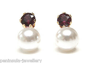 9ct Gold Pearl and Garnet Stud earrings Gift Boxed Made in UK