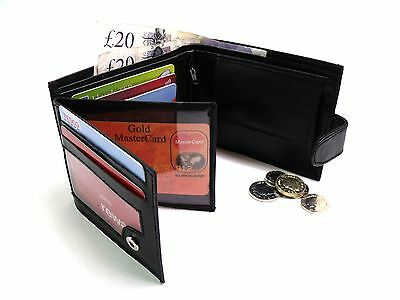 MENS HIGH QUALITY REAL BLACK LEATHER CREDIT CARD HOLDER ID WALLET COIN POUCH