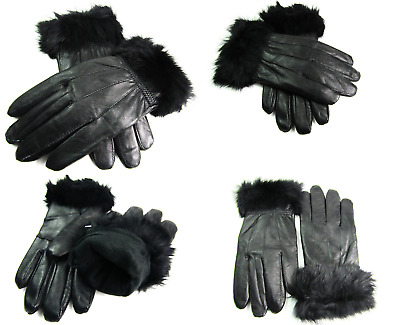 Ladies New Black Super Soft Genuine Leather Fully Lined Gloves Everyday Driving