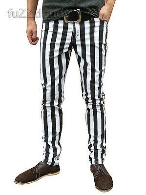 Drainpipes trousers skinny jeans vtg indie mod STRIPED blk hipsters pin stripey