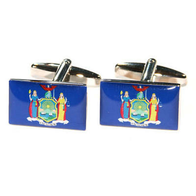 Blue New York Us American State Flag Cufflinks With Gift Pouch Flags Present New
