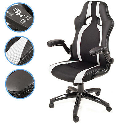 New Black & White Home Office Computer Pc Desk 360 Swivel Gaming Race Seat Chair