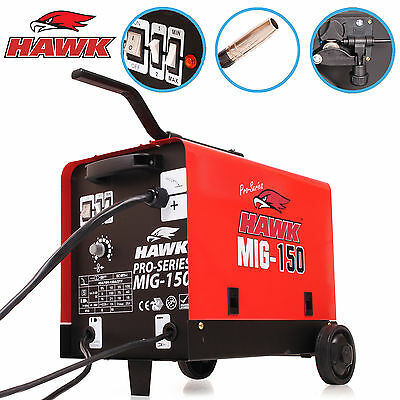 Hawk 150 Gas & No Gas Auto Flux Solid Wire Feed Mig Weld Welder Welding Machine