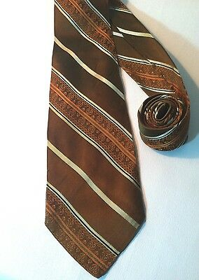 Colosseo Di Roma Vintage NECK TIE. Brown, Gold & Silver Stripes. Made in Italy.