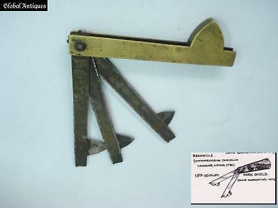 19C. Antique Medical Bronze Blood Letting Lancet Marked