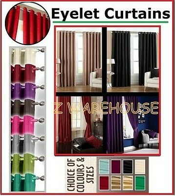 Faux Silk Fully Lined Ring Top Eyelet Pair Of Ready Made Curtains & Tie Backs