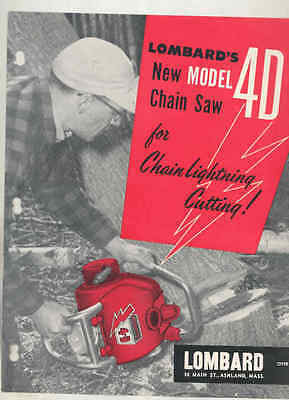 1957 Lombard Model 4D Chainsaw Brochure wt6461
