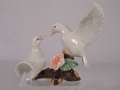 Northern Rose Miniature Porcelain 'White Doves On Branch' W/Rose Fig. #R302 NIB