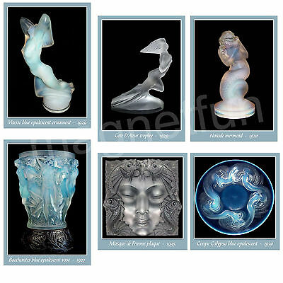 Picture Magnets Lalique Glass Lot Of 6 Different Classic Pieces