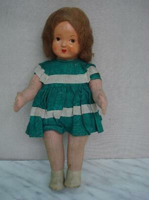 1940s ANTIQUE CHILD TOY RAG DOLL PAPIER-MACHE