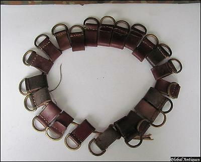 WWII ORIGINAL GERMAN Lot of 22 LEATHER EQUIPMENT HANGERS w/D-RINGS