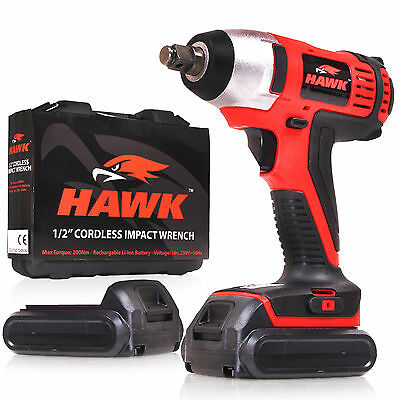 "Hawk 1/2"" Drive 2 X 18V Lithium Batteries  Cordless Garage Impact Socket Gun New"