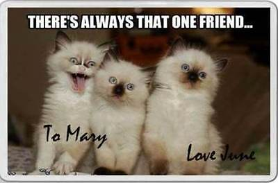Fun fridge magnet CAT kittens THERE'S ALWAYS THAT ONE FRIEND personalised gift