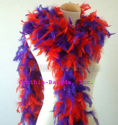 Red /purple Mixture 65 Grams Chandelle Feather Boa Dance Party Halloween Costume