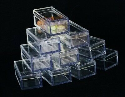 Rectangle Clear Acrylic Gem Boxes 100 Qty