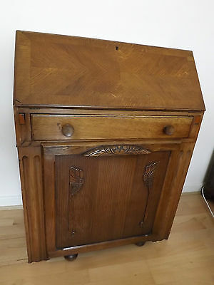 Antique Bureau/writing desk with stool.