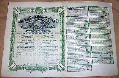 South Africa 1899 Buffelsdoorn Estate Gold Mining Co £1 Uncancelled coupons Deco