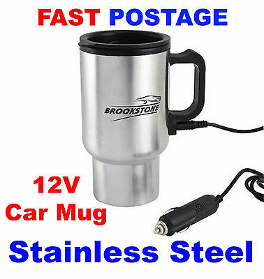 12V Car Heated Warm Stainless Steel Travel Electric Mug Kettle Jug Brookstone 10