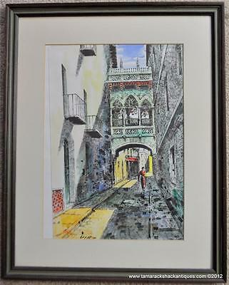 Vintage Signed Watercolor European Street Scene DIAZ Impressionist Painting 7039