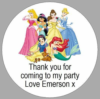 24 x 40mm personalised stickers round labels disney princess party thank you