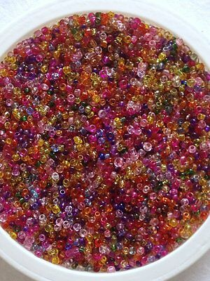 50g glass seed beads - Mixed Transparent - approx 2mm (size 11/0) multi colour