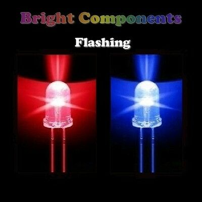 5 x Blue / Red Flashing LED 5mm - Ultra Bright - UK - 1st CLASS POST
