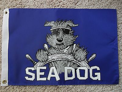"12""x18"" Pirate ""sea Dog"" Flag Double Sided Nylon Boat/yacht"