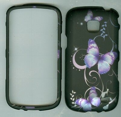 Black Design Butterfly RUBBERIZED Samsung Illusion SCH-i110 cover protector case