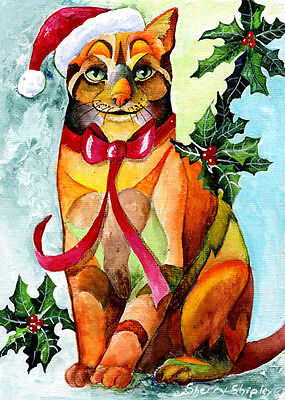 JINGLE CAT Original 5x7 Acrylic Framed Painting by Sherry Shipley