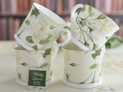 Set of 4 WHITBY QUEEN Fine Bone China FOOTED PALACE MUGS