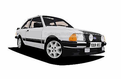 ESCORT RS1600i GRAPHIC CAR ART PRINT PICTURE (SIZE A4). PERSONALISE IT!