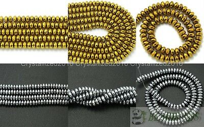 """Natural Hematite Gemstone 2mm 3mm 4mm Faceted Rondelle Beads Silver Gold 16"""""""