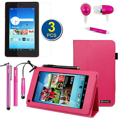Hot Pink Leather Stand Case+3x LCD+3x Stylus+Headset For Hisense Sero 7 LT Lite