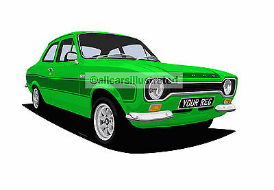 Ford Escort Rs2000 Car Art Print Picture (Size A4). Personalise It!