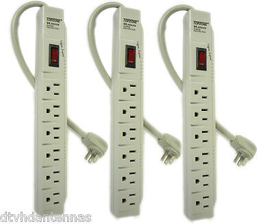 Three 6 Outlet Power Electrical Wall Plug Socket Surge Protector Strip Splitter