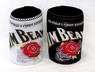 Set Of 2 Jim Beam Kentucky Bourbon Beer Can Stubby Coolers Holders Black & White