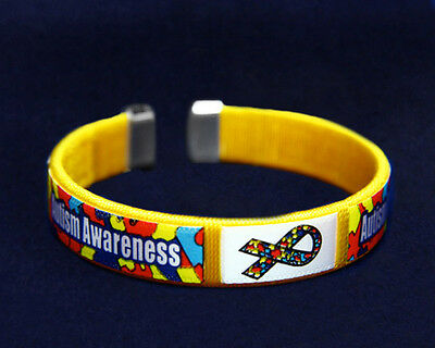 Lot of 25 Autism Awareness Fabric Bangle Bracelets - Adult Size