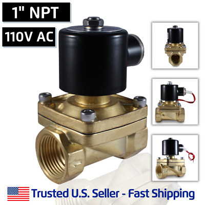 "1"" 110 Volts AC Electric Brass Solenoid Valve Water Gas Air 120 VAC"