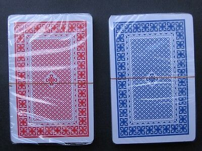 "POKER PLAYING CARDS Red + Blue Twin Deck 100% Plastic Washable""Lets play Cards"""